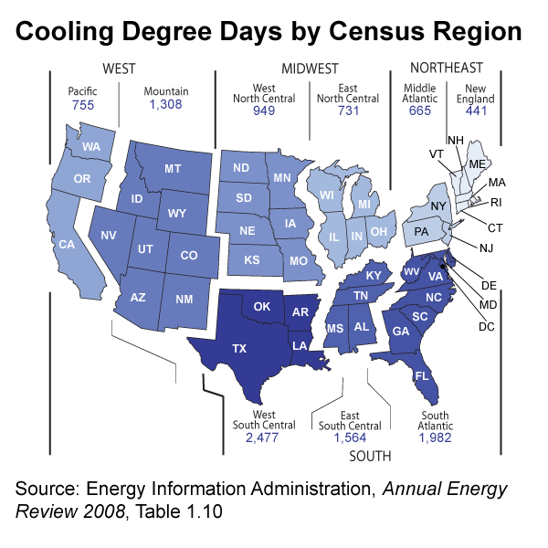 Map of cooling degree days